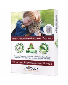 Arava - Flea & Ticks Botanical ampule proti klopom in bolham za pasje mladičke po 12. tednu in mačke nad 4 kg