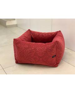 Loving Paw - Udobna posteljica KAI za pse in mačke v bordo rdeči barvi z vzorcem