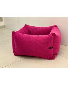 Loving Paw - Udobna posteljica KAI za pse in mačke v temno roza barvi z vzorcem