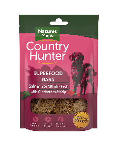 Natures Menu - Country Hunter Superfood Bar priboljški losos in bela riba z brusnicami ter morskimi algami 100g