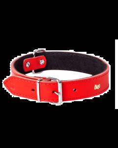 Dingo - Klasična usnjena ovratnica RED